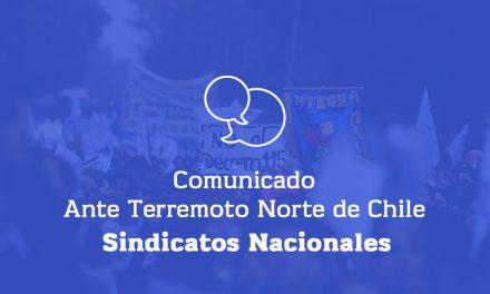 COMUNICADO ANTE TERREMOTO EN EL NORTE DE CHILE
