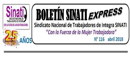 APARECIÓ BOLETÍN EXPRESS 116 ABRIL 2018
