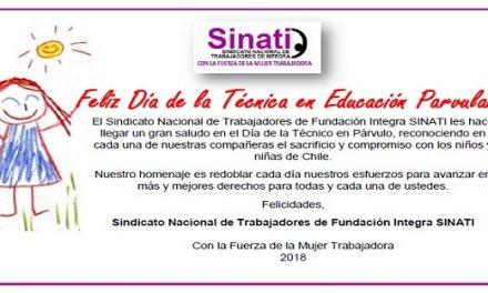Sindicato Nacional de Trabajadores de Fundación Integra SINATI entrega saludo en el Día de la Técnico en Párvulo