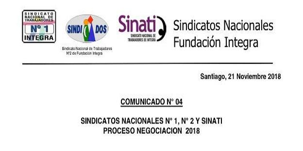 SINDICATOS NACIONALES COMUNICADO N° 04 PROCESO DE NEGOCIACIÓN 2018