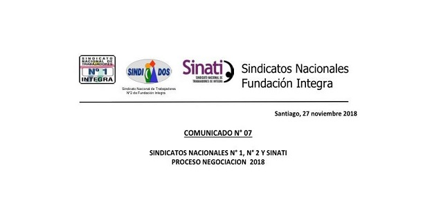 SINDICATOS NACIONALES COMUNICADO N° 07 PROCESO DE NEGOCIACIÓN 2018
