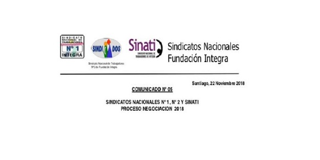SINDICATOS NACIONALES COMUNICADO N° 05 PROCESO DE NEGOCIACIÓN 2018 Y FUNA A DIRECCIÓN EJECUTIVA