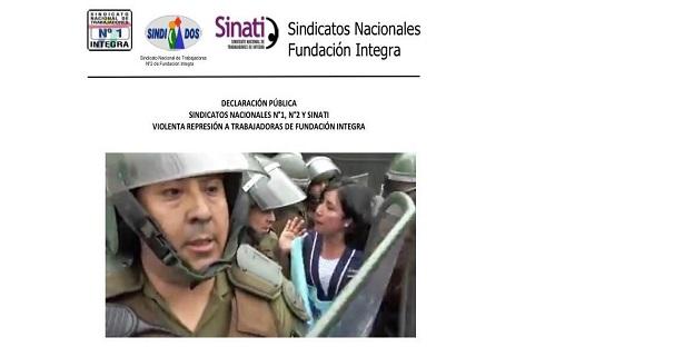 SINDICATOS NACIONALES. DECLARACIÓN PUBLICA VIOLENTA REPRESIÓN A TRABAJADORAS DE INTEGRA